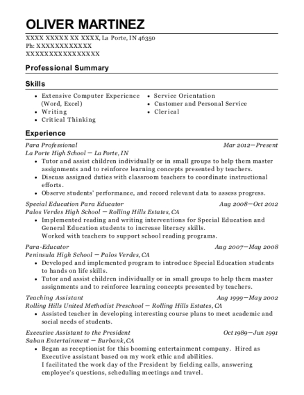 Para Professional resume example Indiana