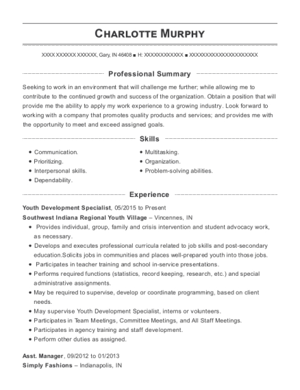 Youth Development Specialist resume example Indiana