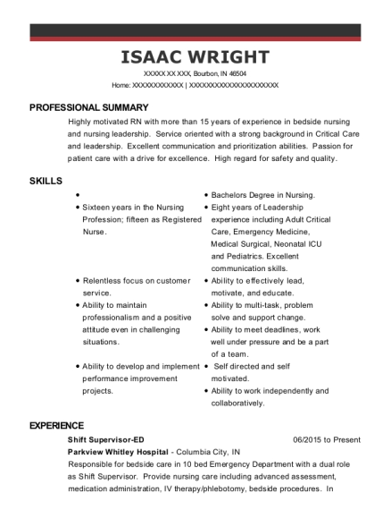 Shift Supervisor ED resume sample Indiana