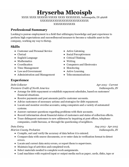 Debt Collector resume example Indiana