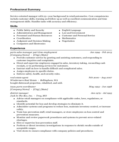 parts sales manager part time employment resume sample Indiana