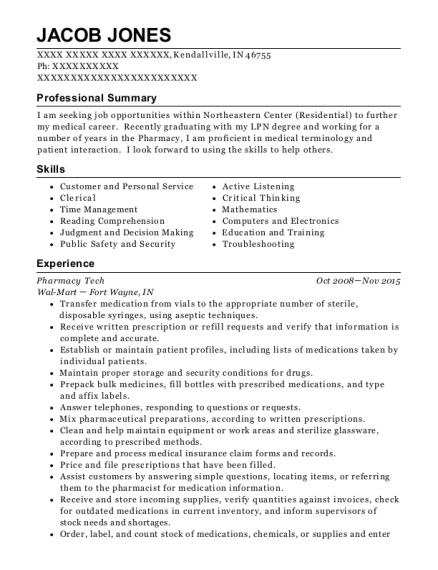 Pharmacy Tech resume format Indiana