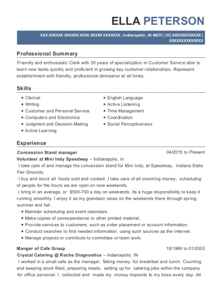 Concession Stand manager resume format Indiana
