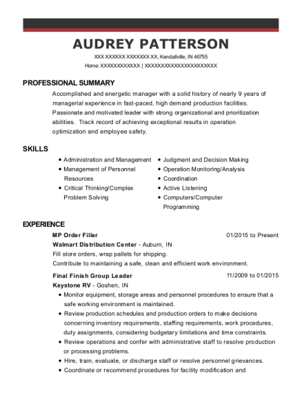 MP Order Filler resume example Indiana