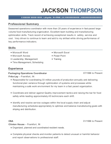 Packaging Operations Coordinator resume template Indiana