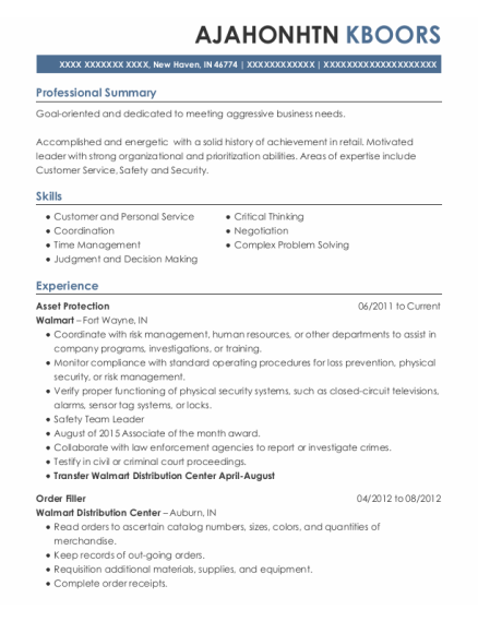 Asset Protection resume sample Indiana