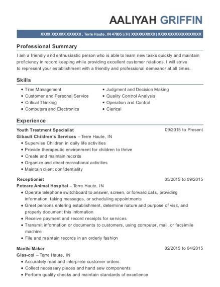 Youth Treatment Specialist resume format Indiana