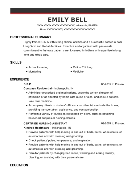 DSP resume sample Indiana