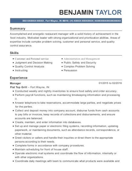 Manager resume template Indiana