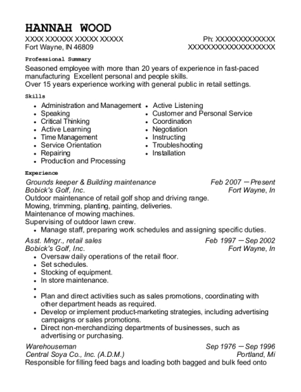 Grounds keeper & Building maintenance resume sample Indiana