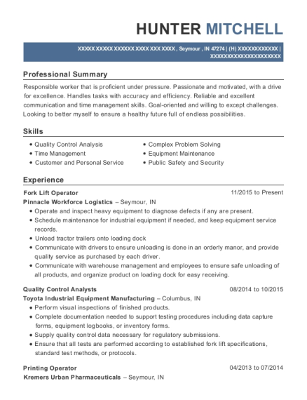 Fork Lift Operator resume template Indiana