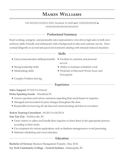 Sales Support resume sample Indiana