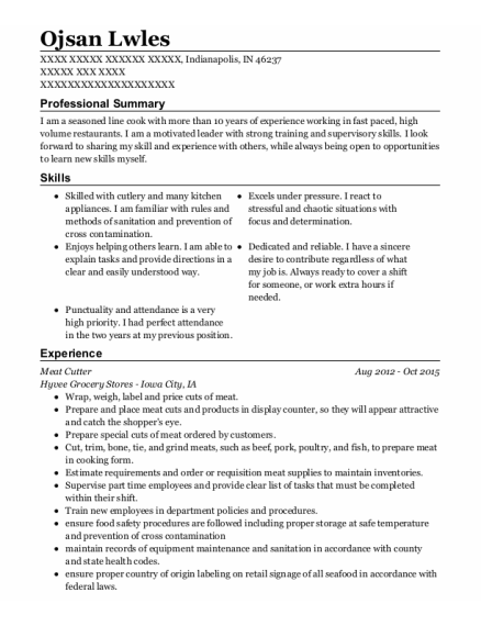 Meat Cutter resume sample Indiana