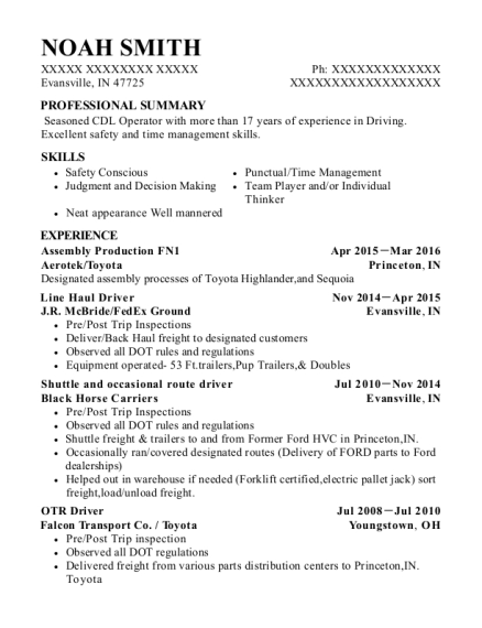 Assembly Production FN1 resume format Indiana