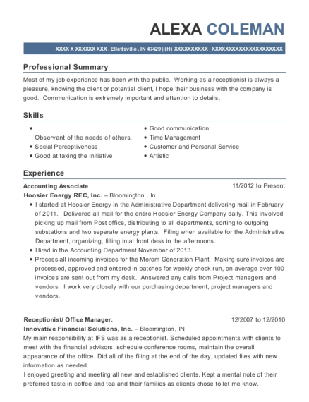 Accounting Associate resume template Indiana