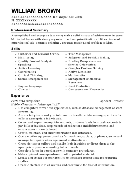 Parts data entry clerk resume format Indiana