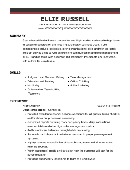 Night Auditor resume example Indiana
