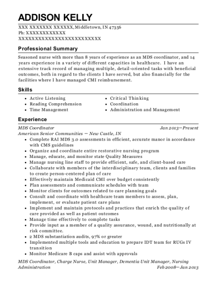 MDS Coordinator resume template Indiana