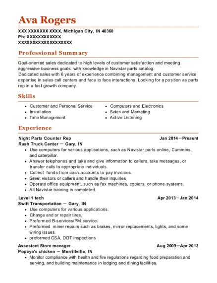 Night Parts Counter Rep resume sample Indiana