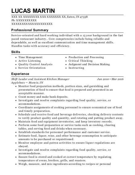 Shift Leader and Assistant Kitchen Manager resume format Indiana