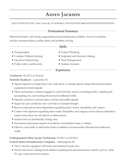 Conductor resume template Indiana