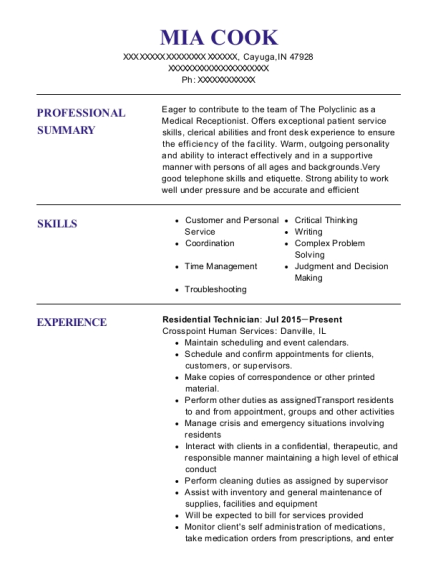 Residential Technician resume template Indiana