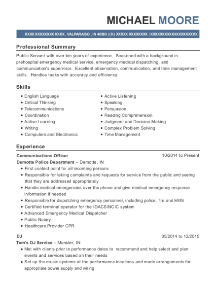 Communications Officer resume example Indiana