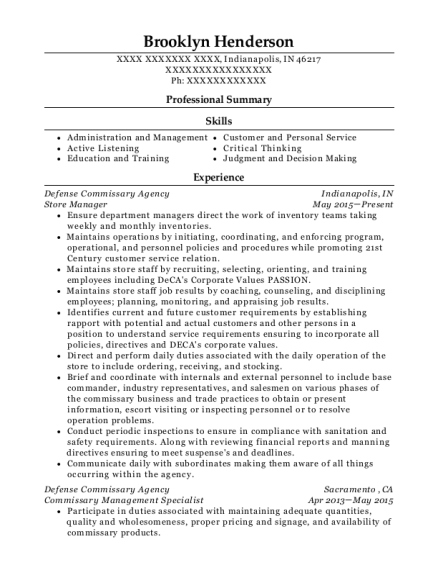 Store Manager resume format Indiana