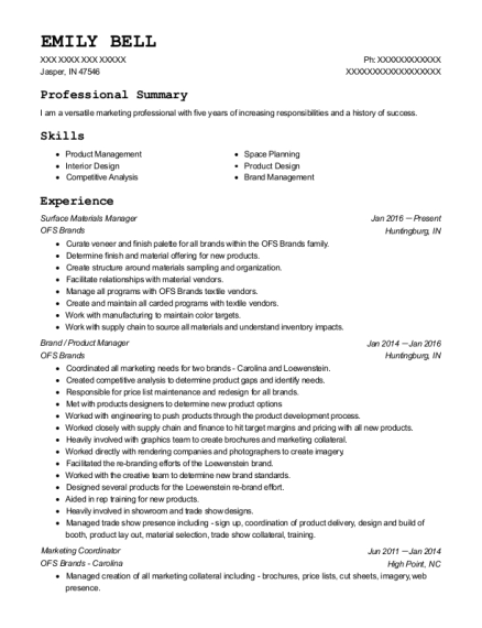 Surface Materials Manager resume template Indiana