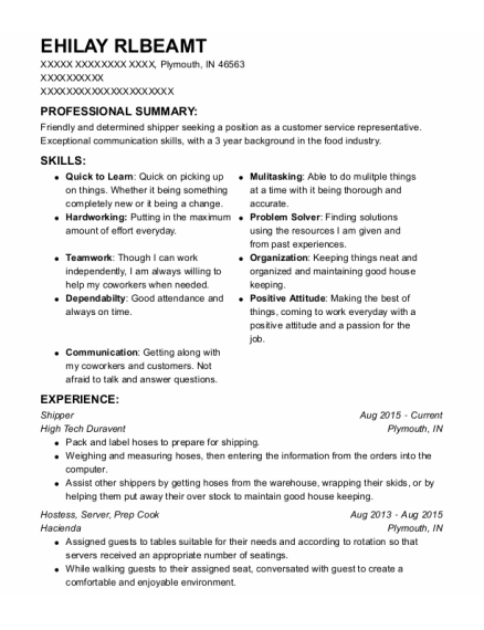 Shipper resume example Indiana