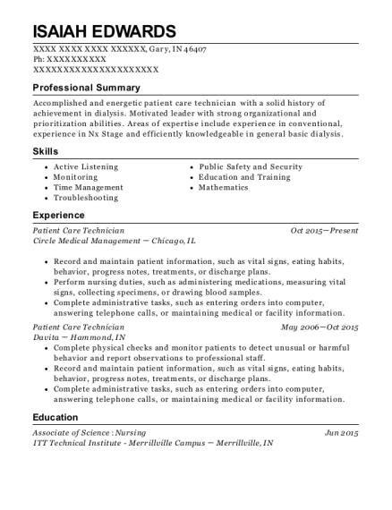 Patient Care Technician resume format Indiana