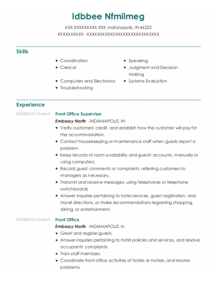 Front Office Supervisor resume example Indiana