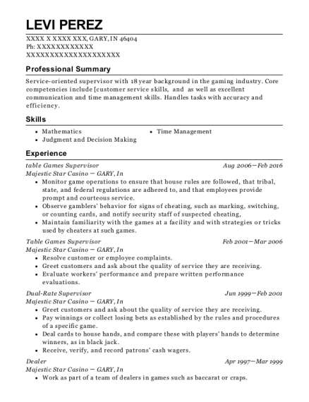 table Games Supervisor resume template Indiana