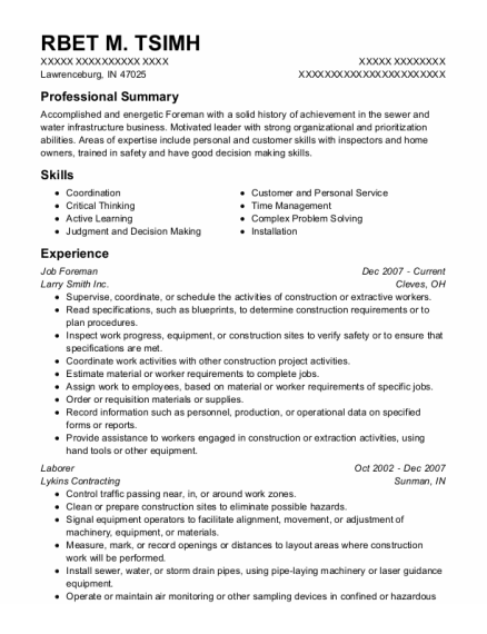 Job Foreman resume template Indiana