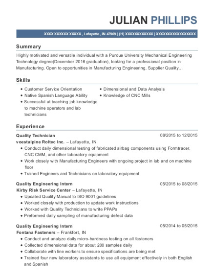 Quality Technician resume sample Indiana