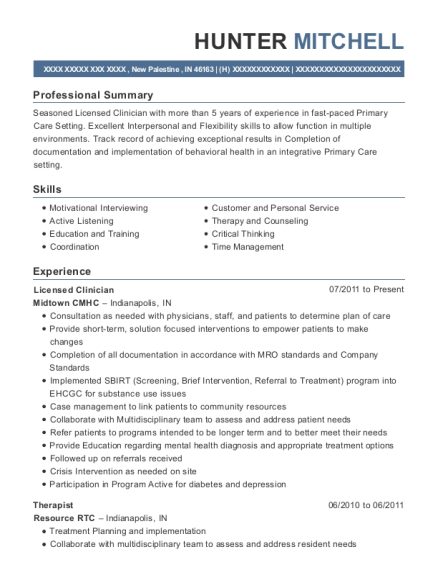 Licensed Clinician resume example Indiana