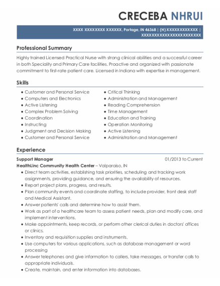 Support Manager resume format Indiana