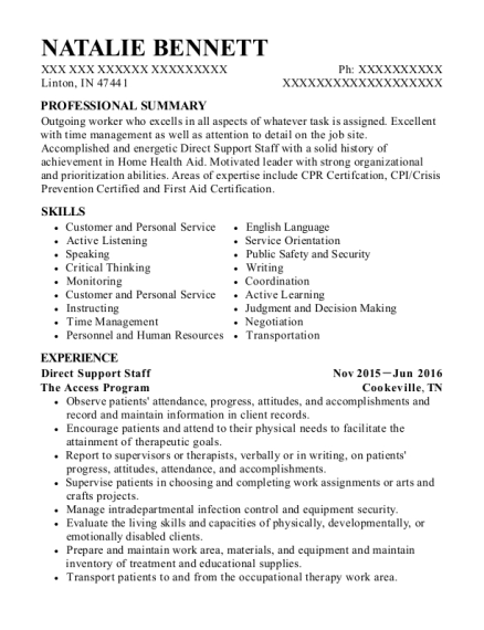 Direct Support Staff resume example Indiana