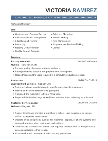 Factory assembler resume example Indiana