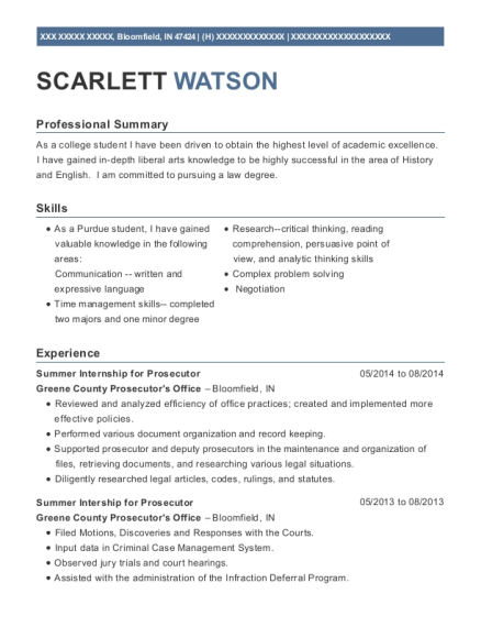 Summer Internship for Prosecutor resume format Indiana