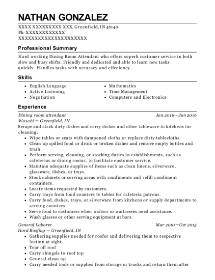 Dining room attendant resume example Indiana