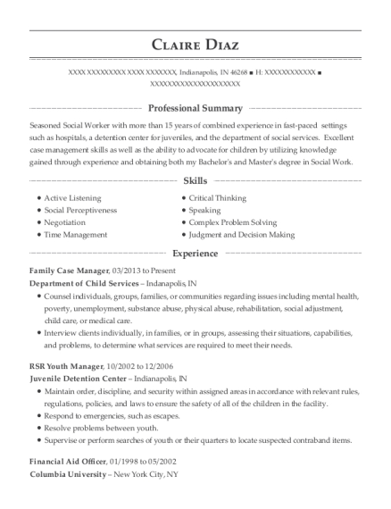 Family Case Manager resume sample Indiana