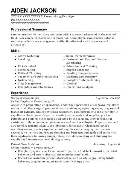 Surgical Technologist resume template Indiana
