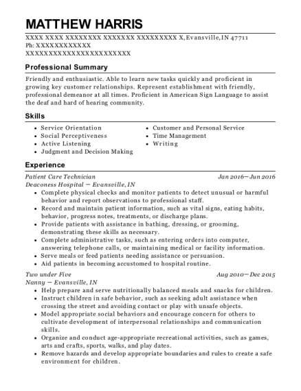 Patient Care Technician resume example Indiana