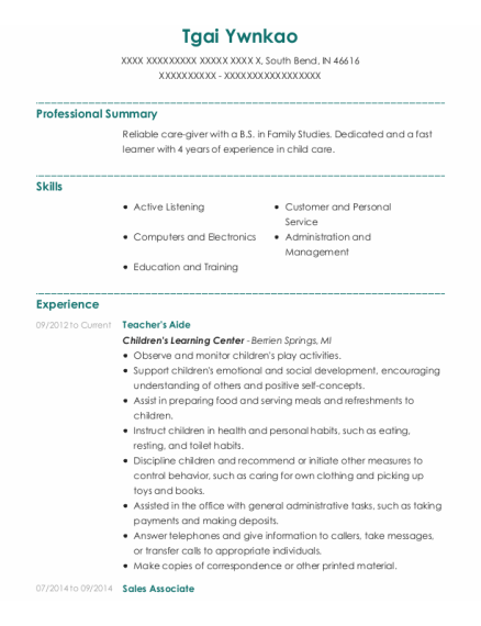 Teachers Aide resume template Indiana