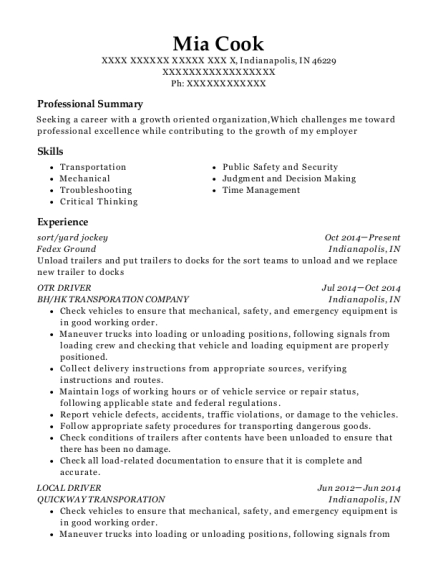 sort resume template Indiana