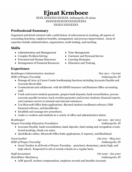 Bookkeeper resume format Indiana