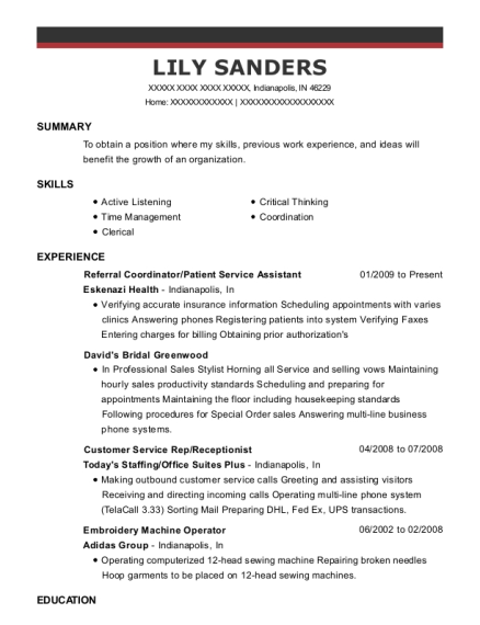 Referral Coordinator resume format Indiana