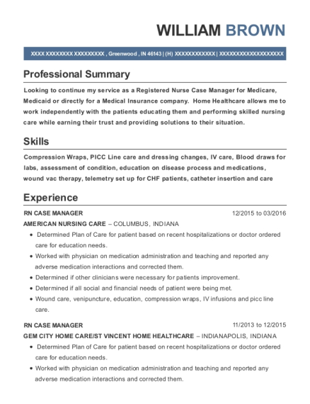 RN CASE MANAGER resume example Indiana