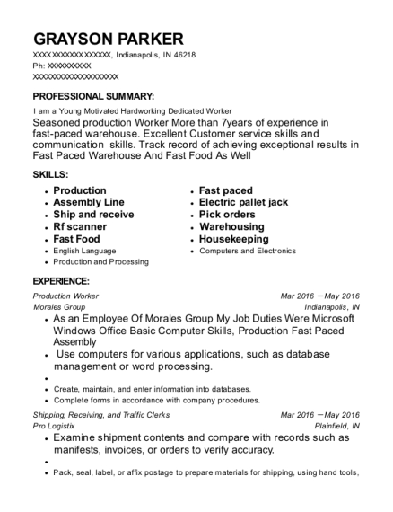 Production Worker resume sample Indiana